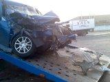 Перекресток Уфимское шоссе/Трамвайная,(2-ая площадка УМПО) Ваз 2112 на высокой скорости врезался в трогающуюся Газель.Пострадал